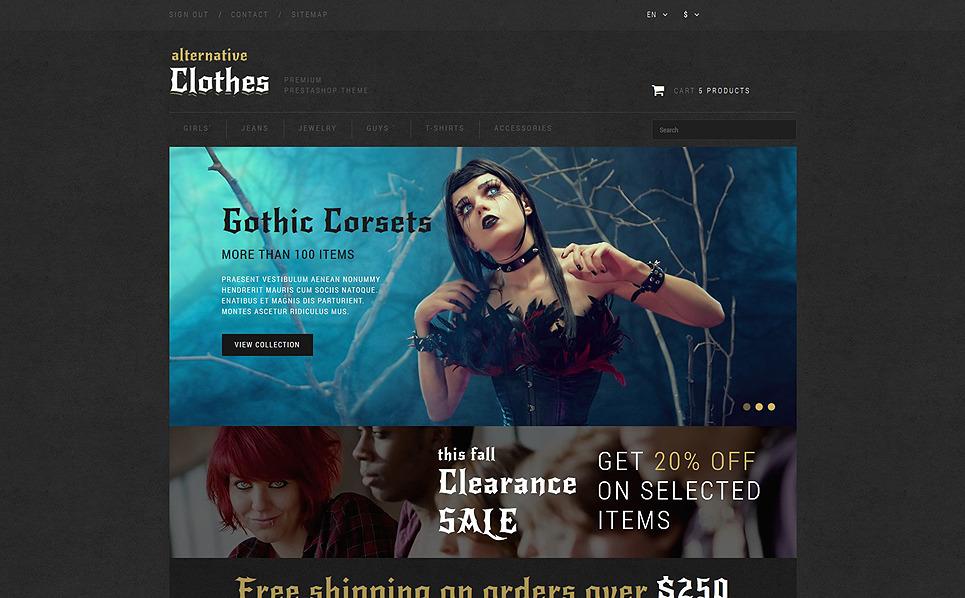"""PrestaShop Theme namens """"Online Shop für alternative Kleidung"""" New Screenshots BIG"""