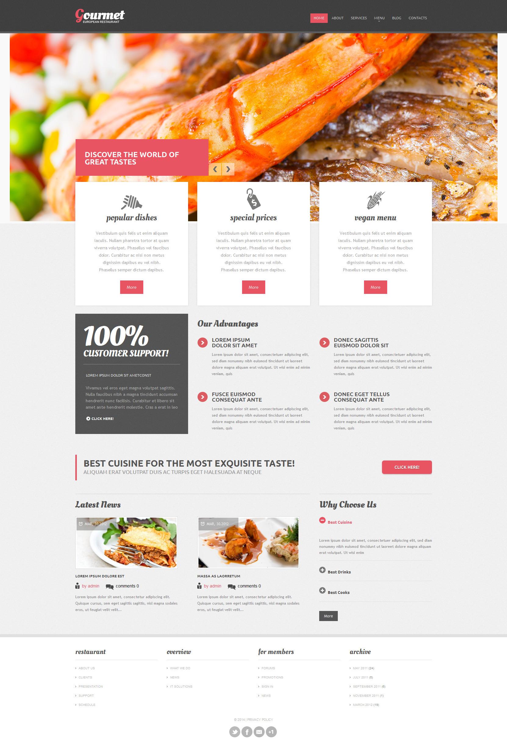 Адаптивний Drupal шаблон на тему європейський ресторан №52160