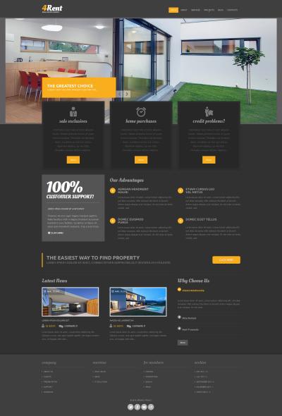 Адаптивный Drupal шаблон №52158 на тему агентство недвижимости