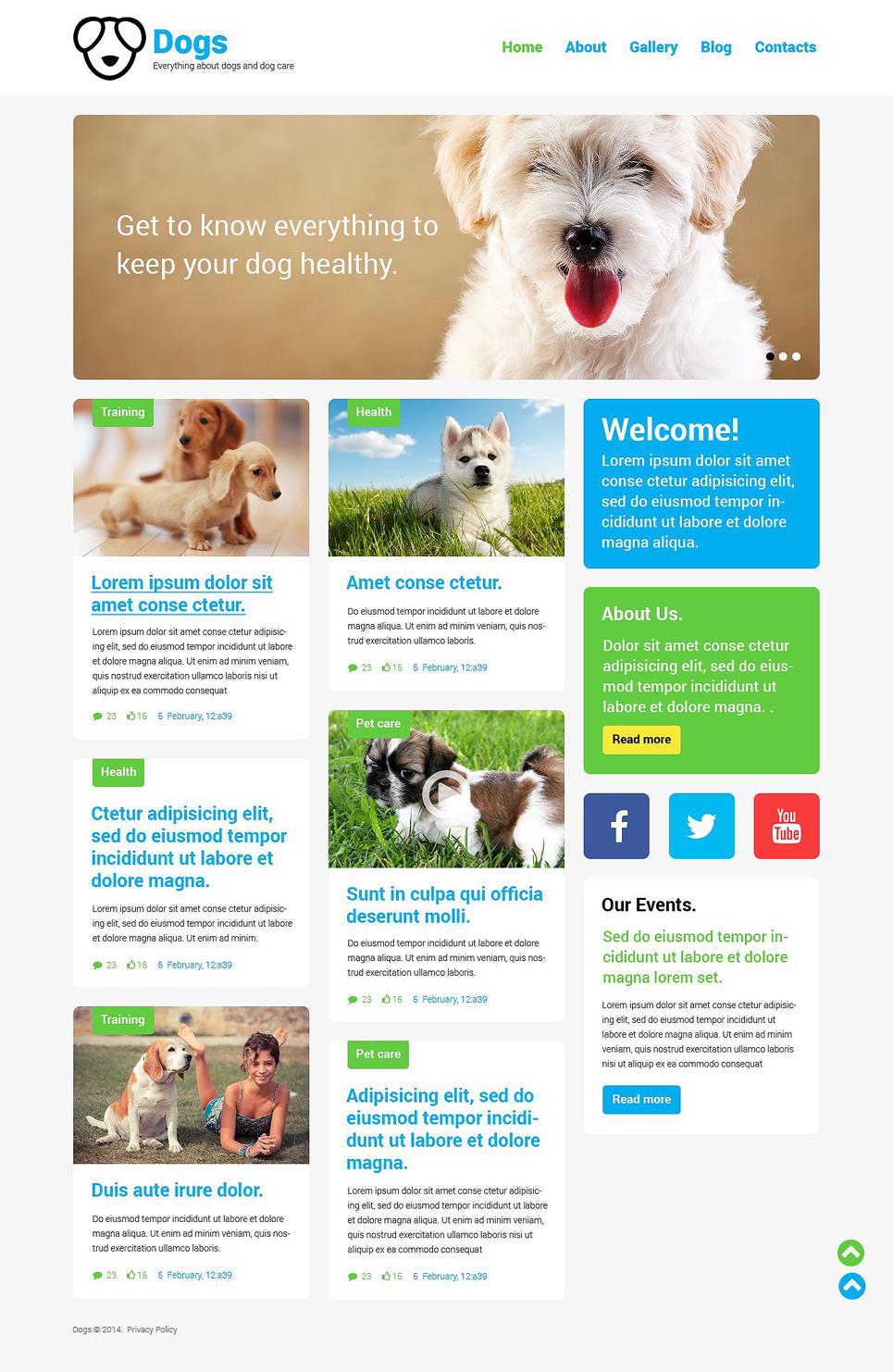 Адаптивный шаблон сайта на тему собаки #52170