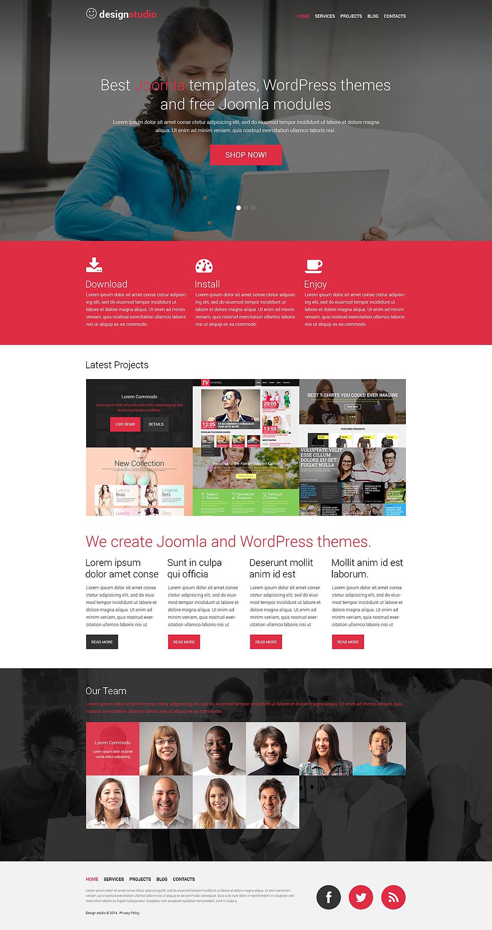 Адаптивный шаблон сайта на тему дизайн студия #52172