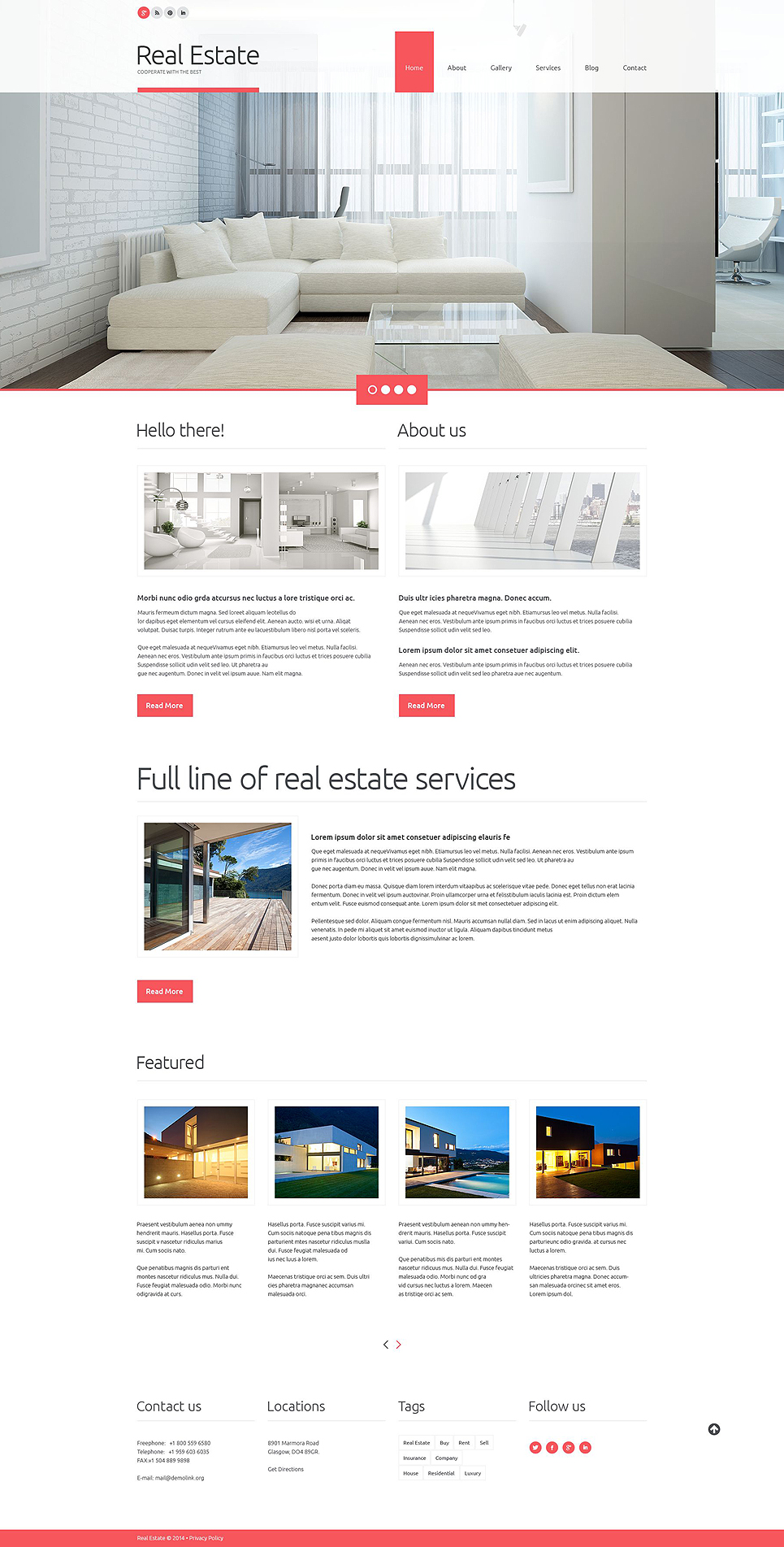 Адаптивный шаблон сайта на тему агентство недвижимости #52174