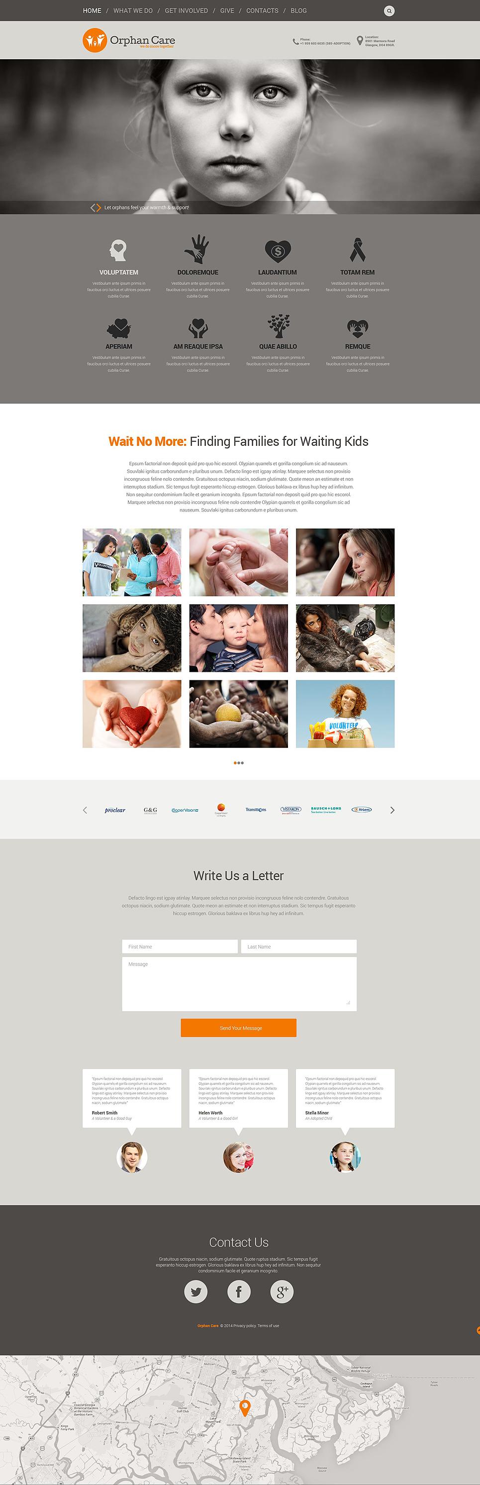 Адаптивный шаблон сайта на тему детская благотворительность #52176