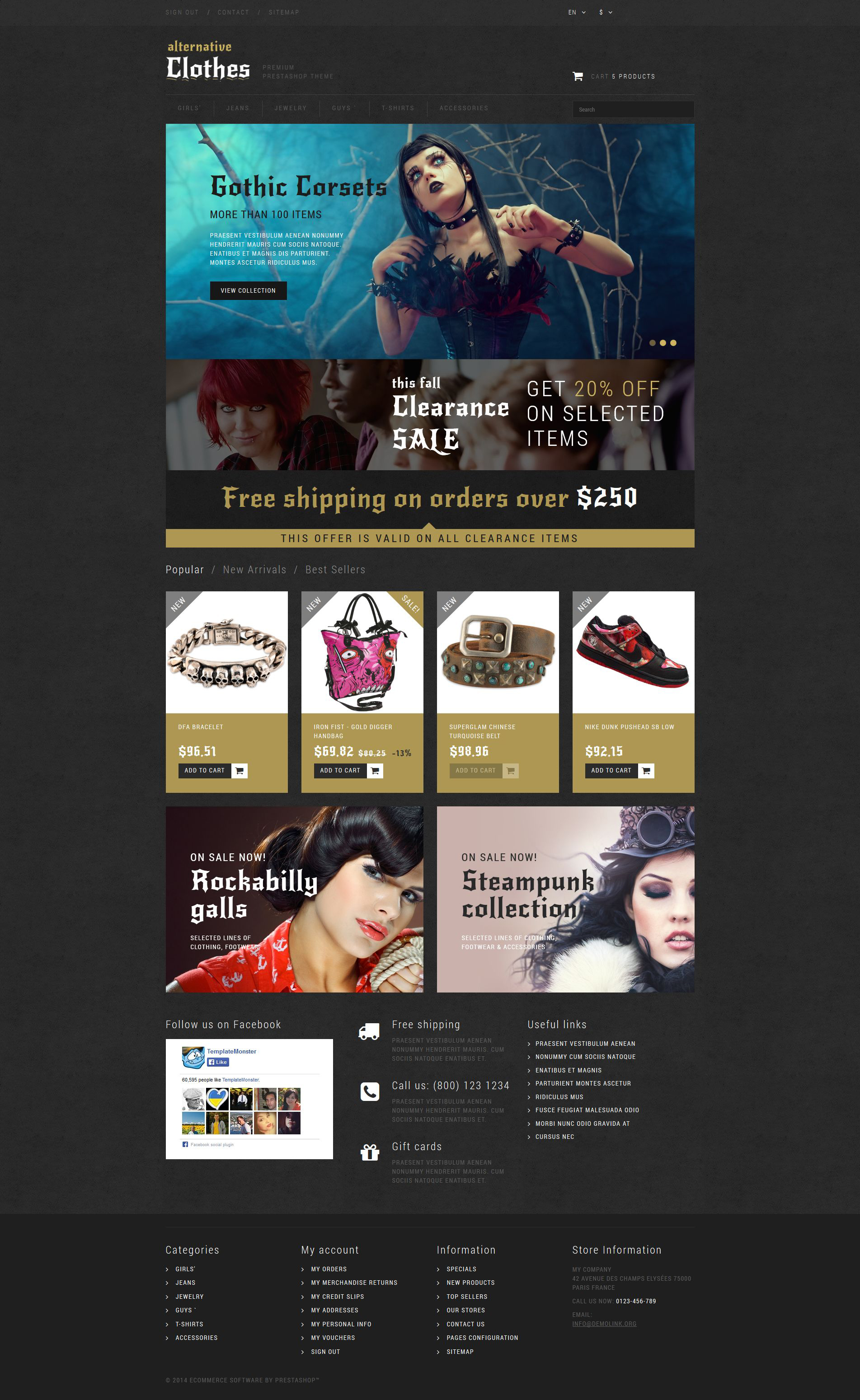 Alternative Clothing Store PrestaShop Theme