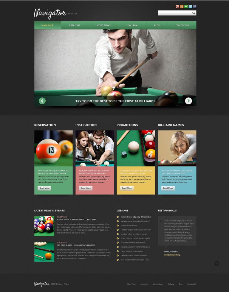 Billiards Responsive Joomla Template New Screenshots BIG
