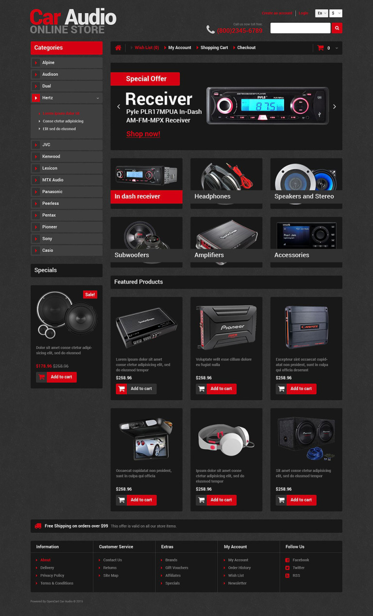 Car Audio Store OpenCart Template New Screenshots BIG