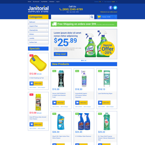 Janitorial Supplies Store - Responsive Magento Template