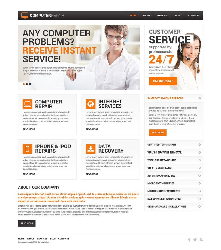 Computer Repair Services Drupal Template New Screenshots BIG