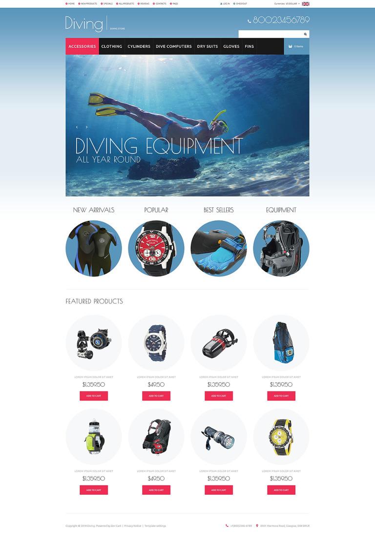 Diving Gear ZenCart Template New Screenshots BIG