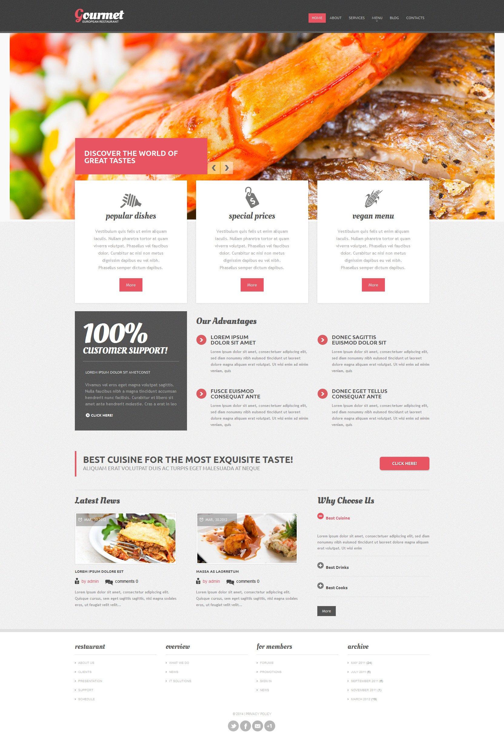 European Restaurant Responsive Drupal Template - screenshot