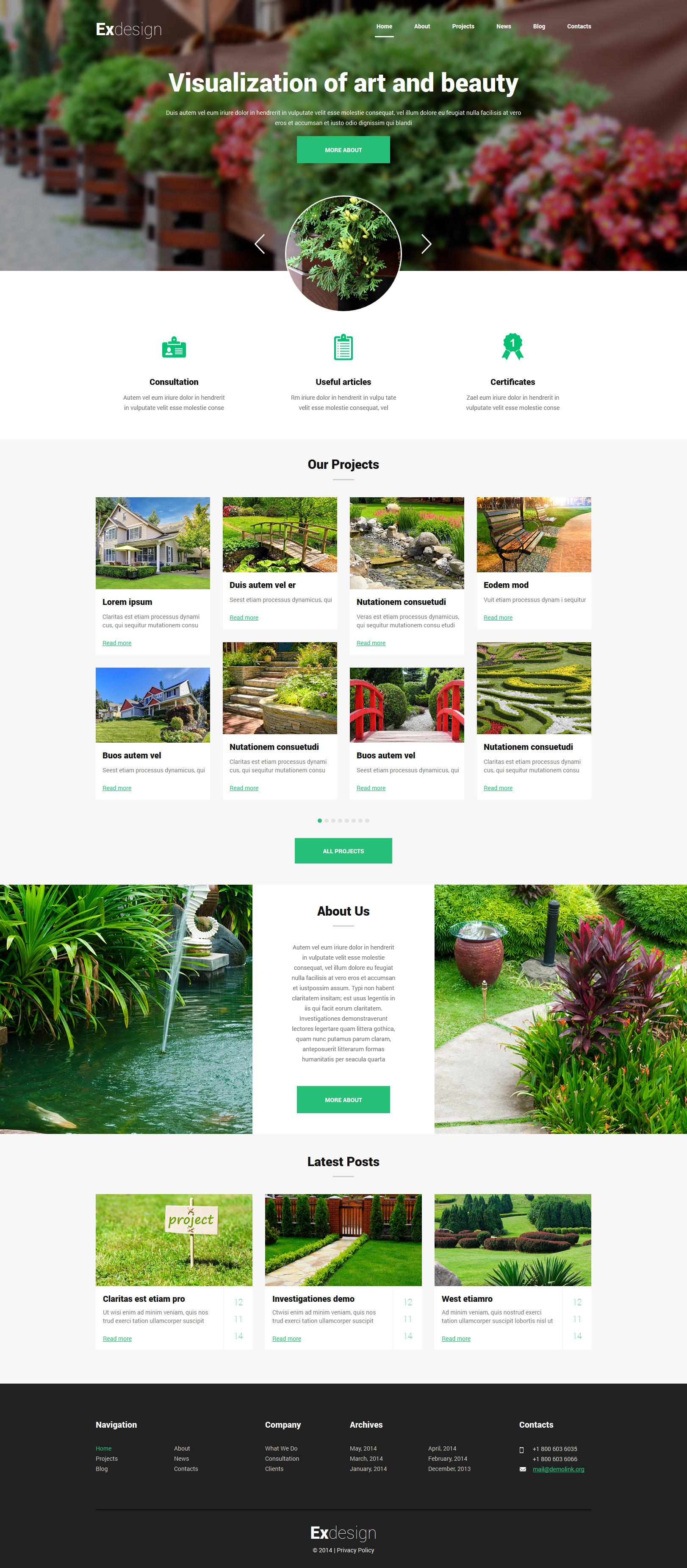 """Exdesign - Exterior Design Multipage Creative"" - адаптивний Joomla шаблон №52177"