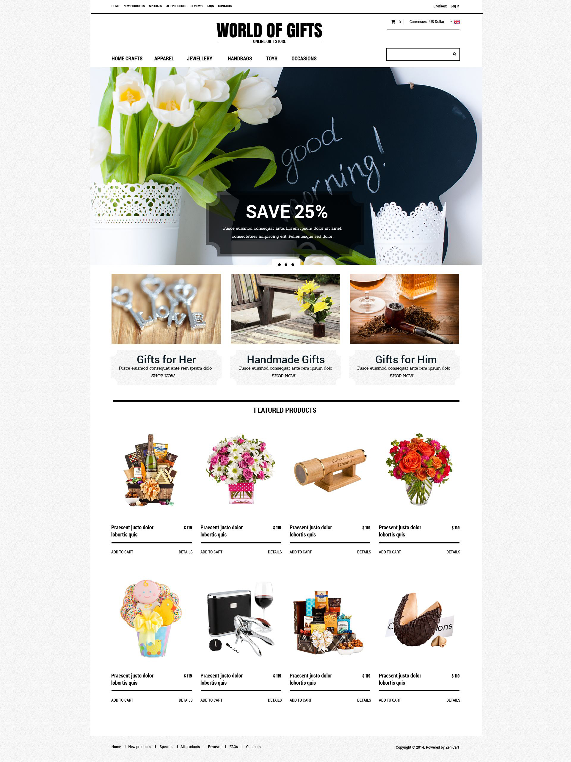"""Gift Shop"" ZenCart template №52124"