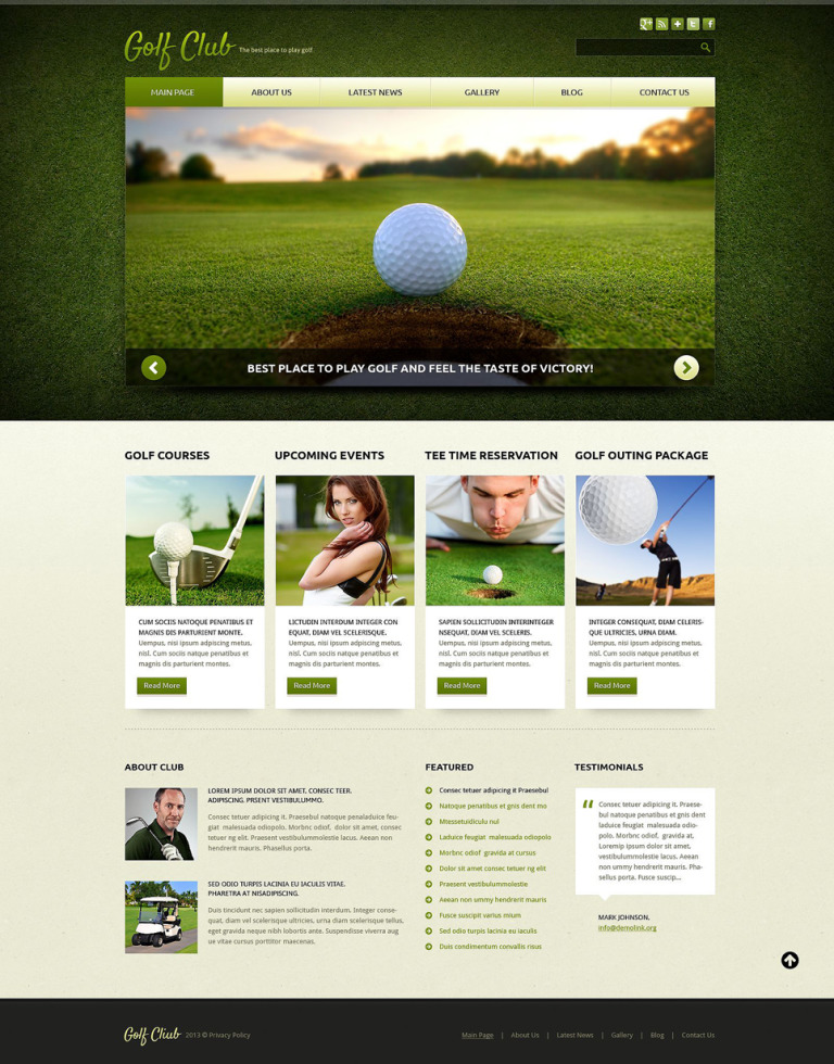 Golf Responsive Joomla Template New Screenshots BIG