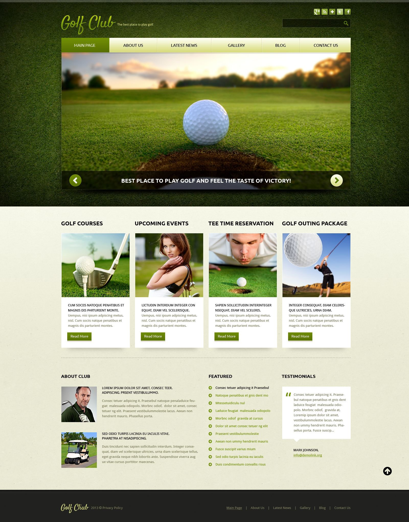Golf Responsive Joomla Template - screenshot