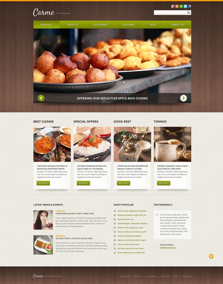 Indian Restaurant Responsive Joomla Template New Screenshots BIG