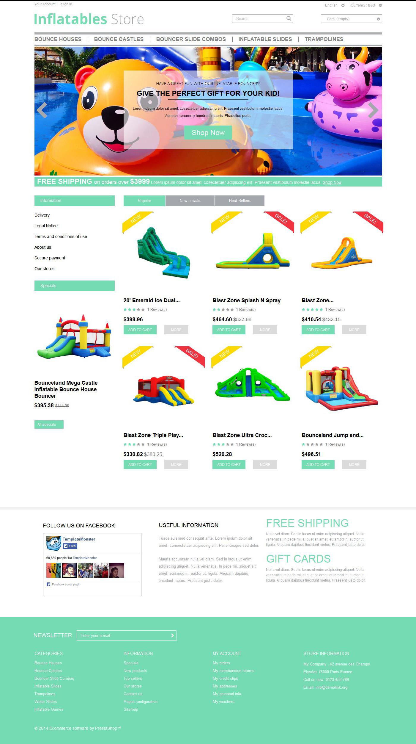 """Inflatables"" - адаптивний PrestaShop шаблон №52149"