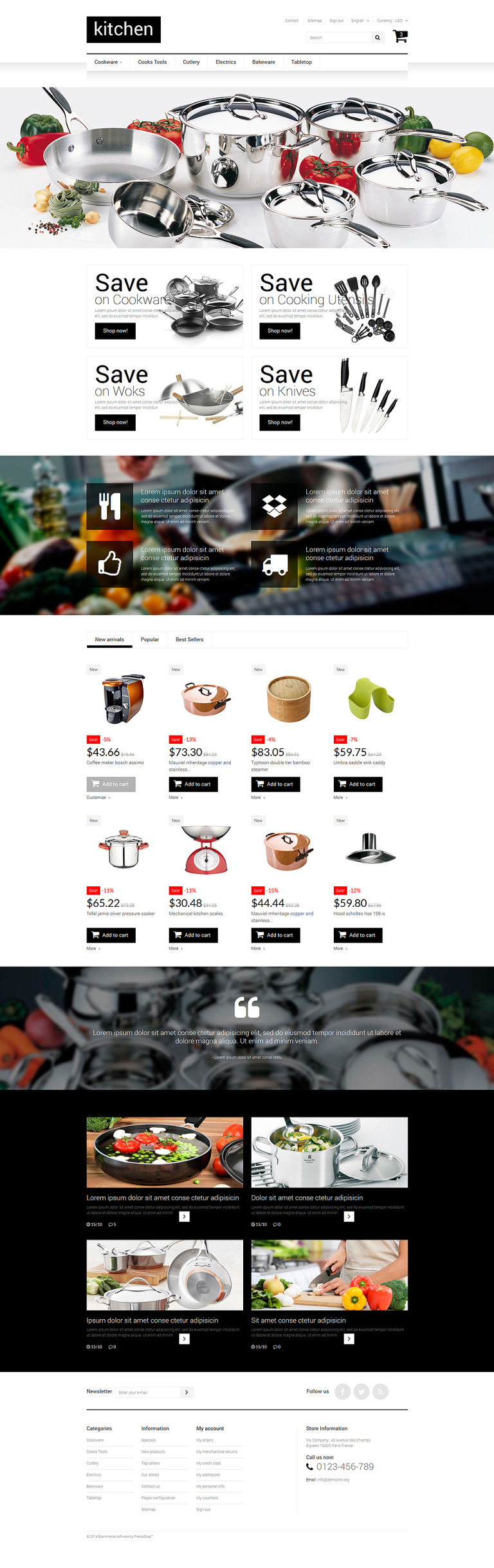 Kitchen Supplies Store Prestashop Theme #52161
