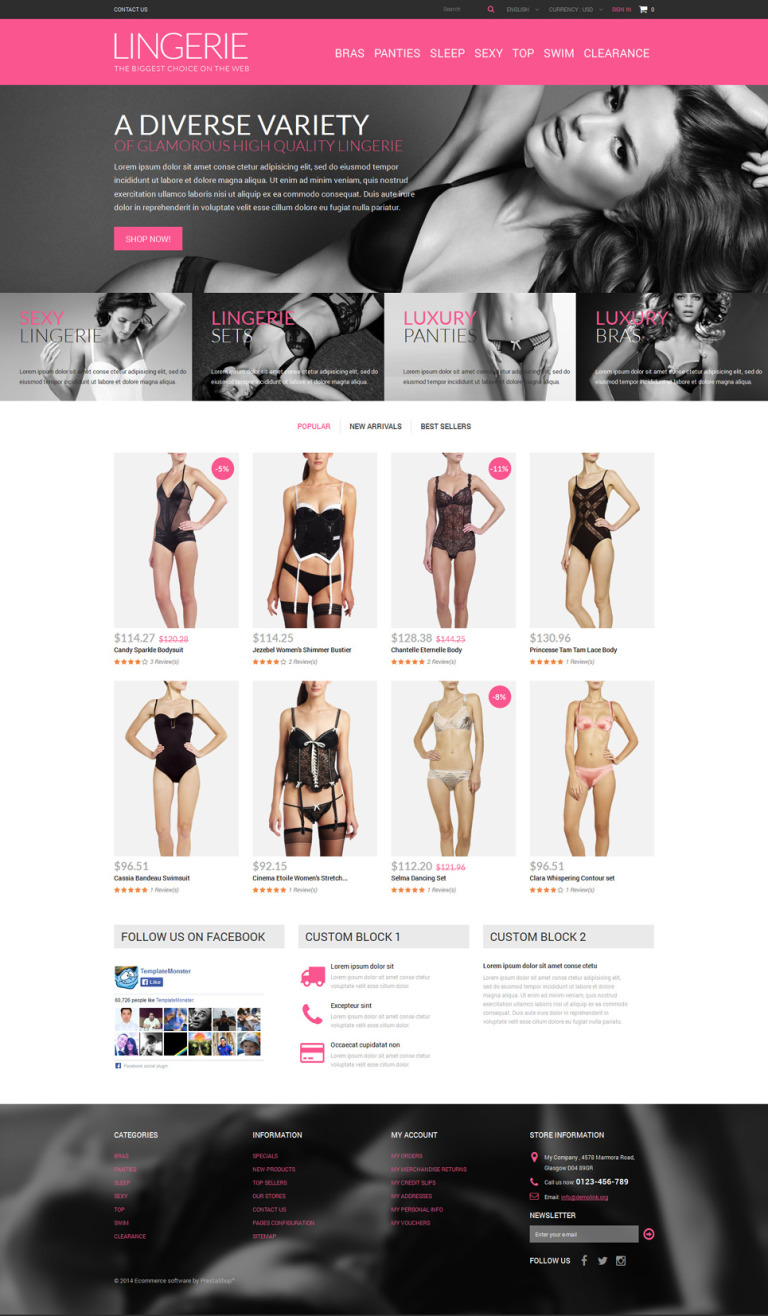 Lingerie Shop PrestaShop Theme New Screenshots BIG