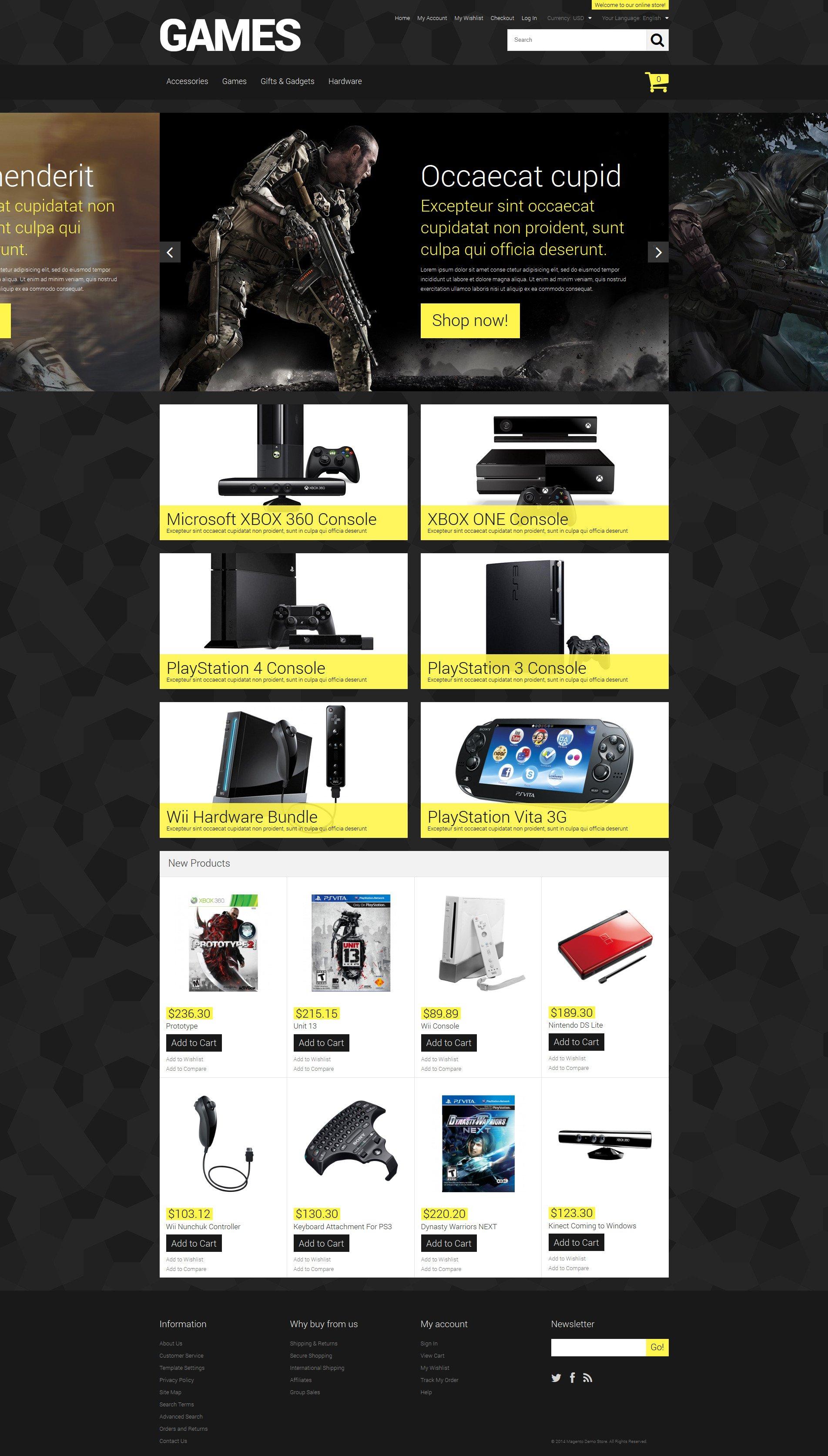 "Magento Theme namens ""Store for Hardcore Gamers"" #52165 - Screenshot"