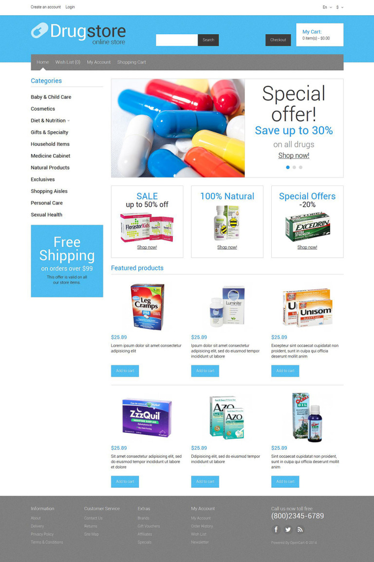 Medical Supplies OpenCart Template New Screenshots BIG