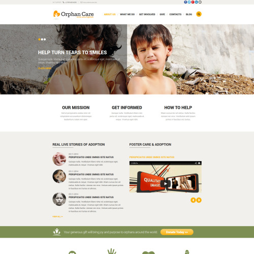 Orphan Care - Joomla! Template based on Bootstrap
