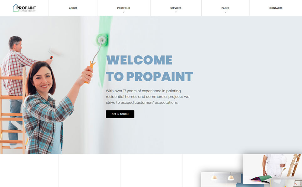 painting company responsive website template 52119. Black Bedroom Furniture Sets. Home Design Ideas
