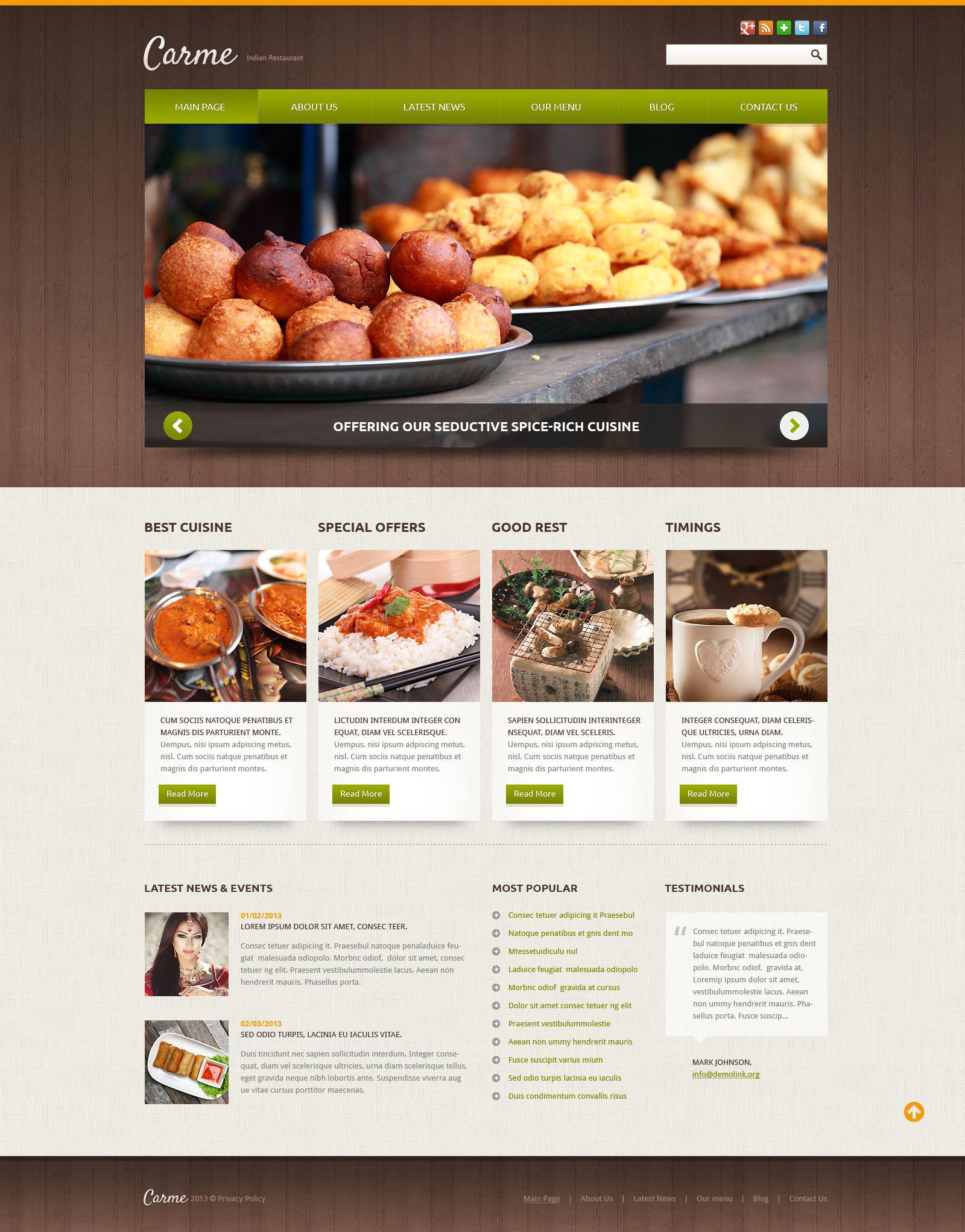 Plantilla Joomla #52106 para Sitio de Restaurantes indios