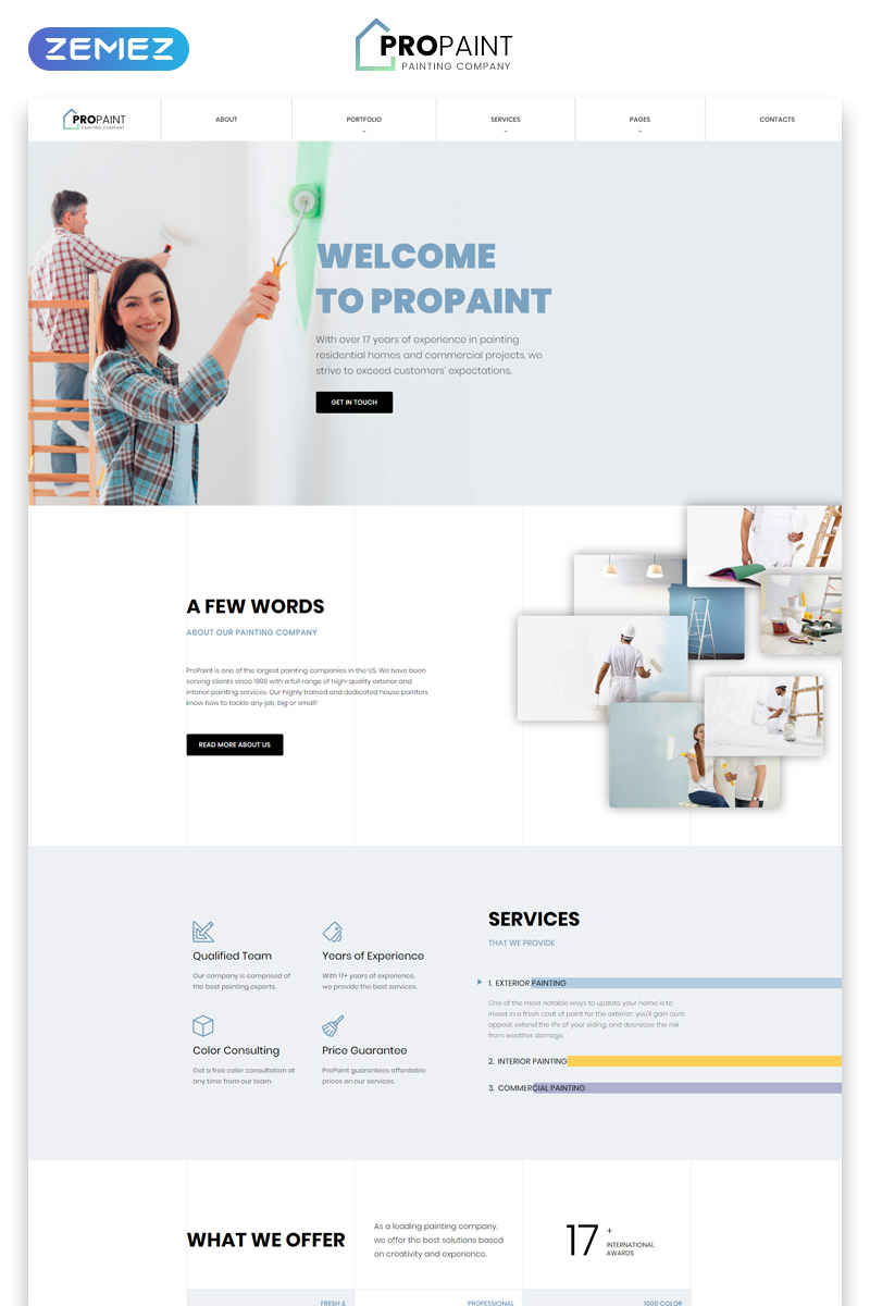 """""""PROPAINT - Painting Company Multipage Creative HTML"""" Responsive Website template №52119"""