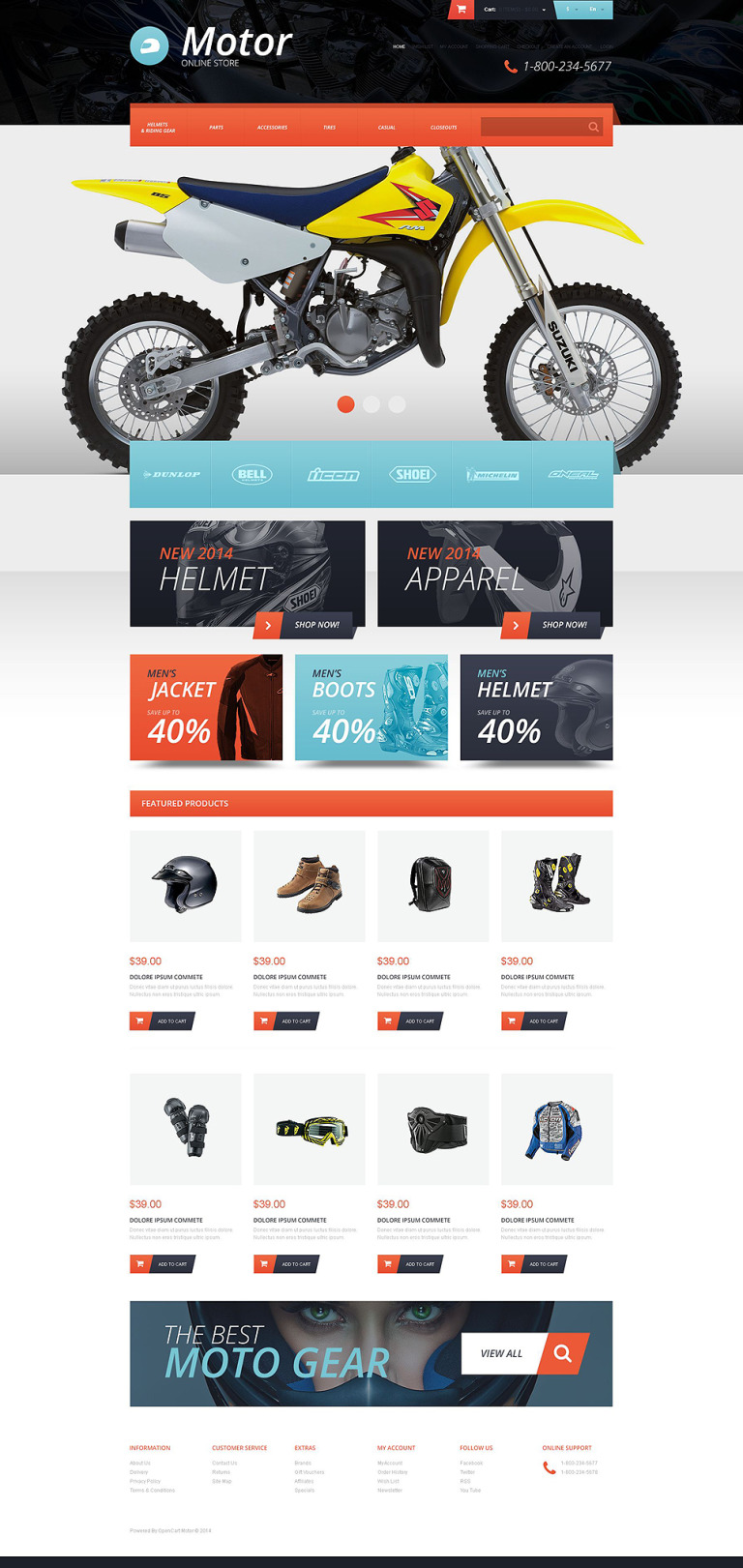 Protective Moto Equipment OpenCart Template New Screenshots BIG