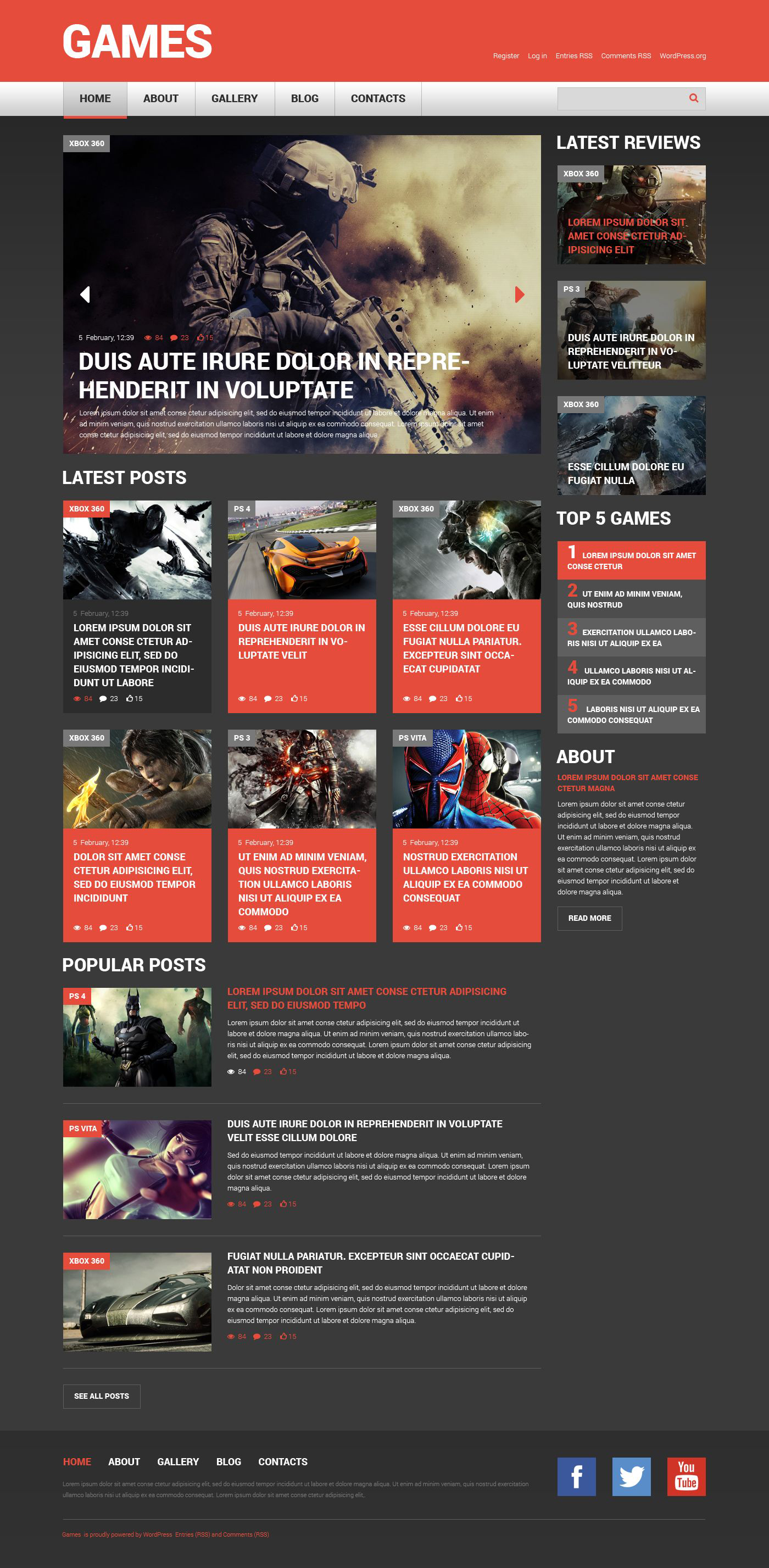 Responsives WordPress Theme für Spieleportal- #52169
