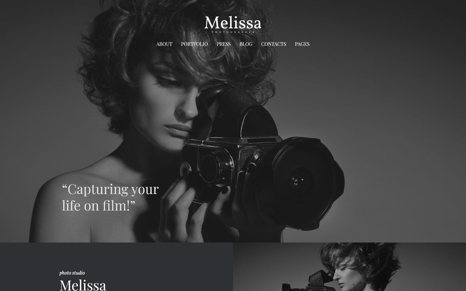 Responsivt Melissa - Art & Photography & Photographer Portfolio & Photo Studio Responsive WordPress Theme WordPress-tema #52153 - skärmbild