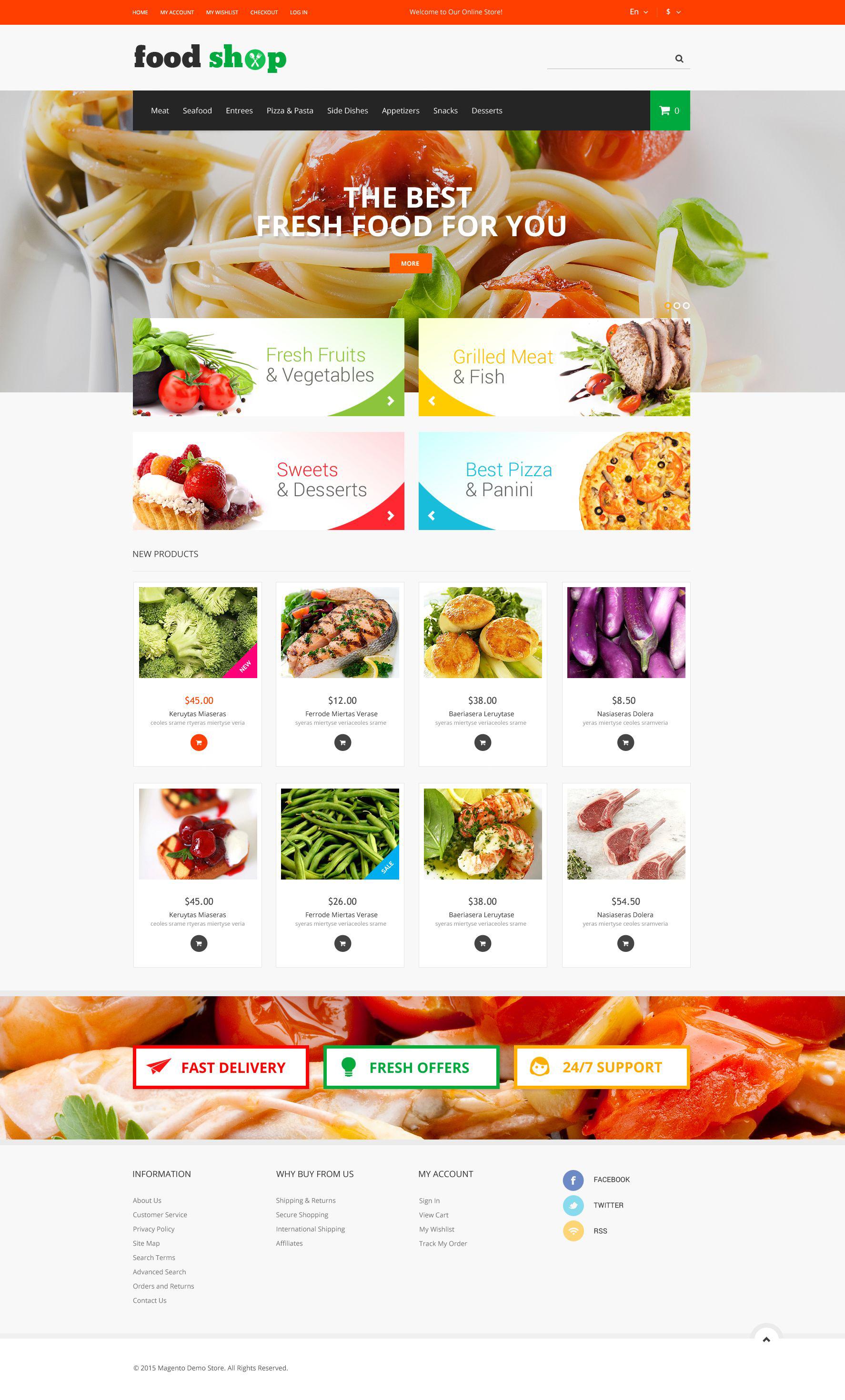 Responsivt Tasty Shop Magento-tema #52192