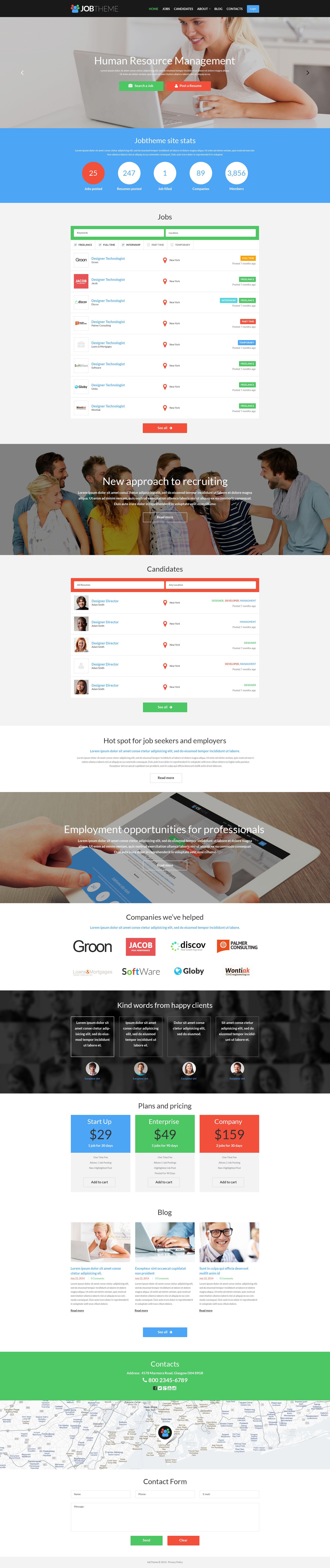 Responsywny motyw WordPress #52112 na temat: portal pracy - zrzut ekranu