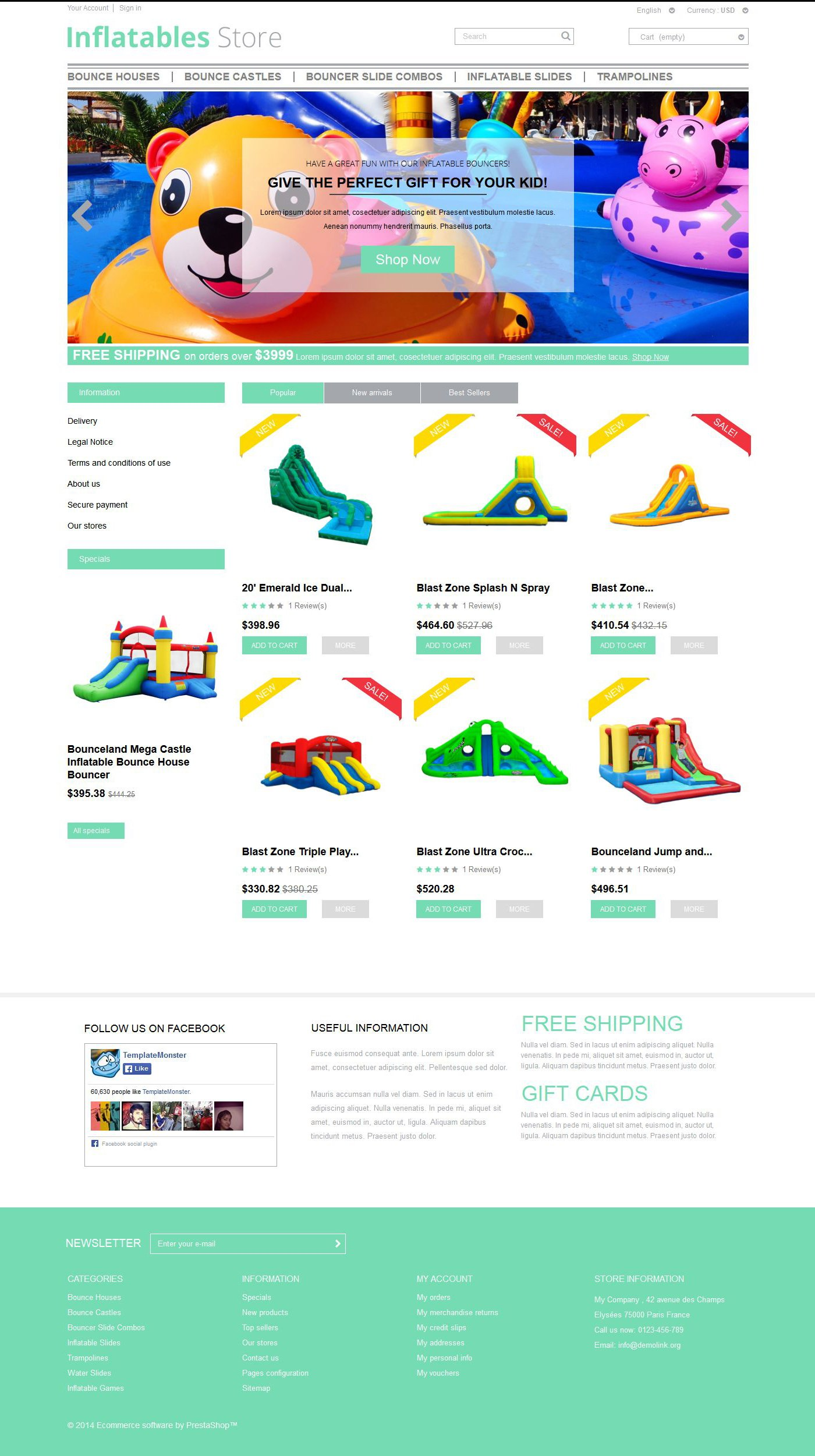 Responsywny szablon PrestaShop Inflatables #52149