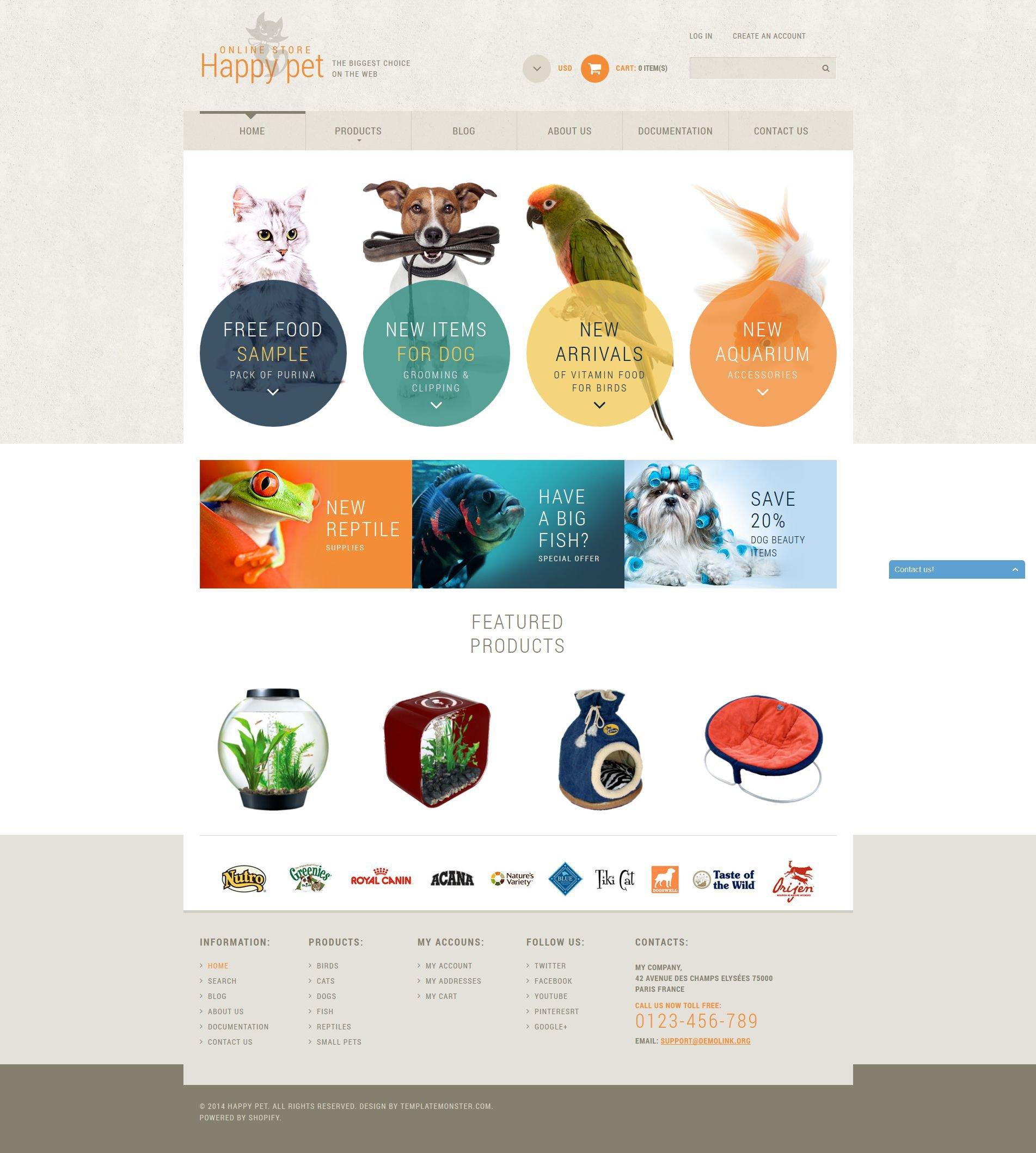 Responsywny szablon Shopify Animals  Pets #52131