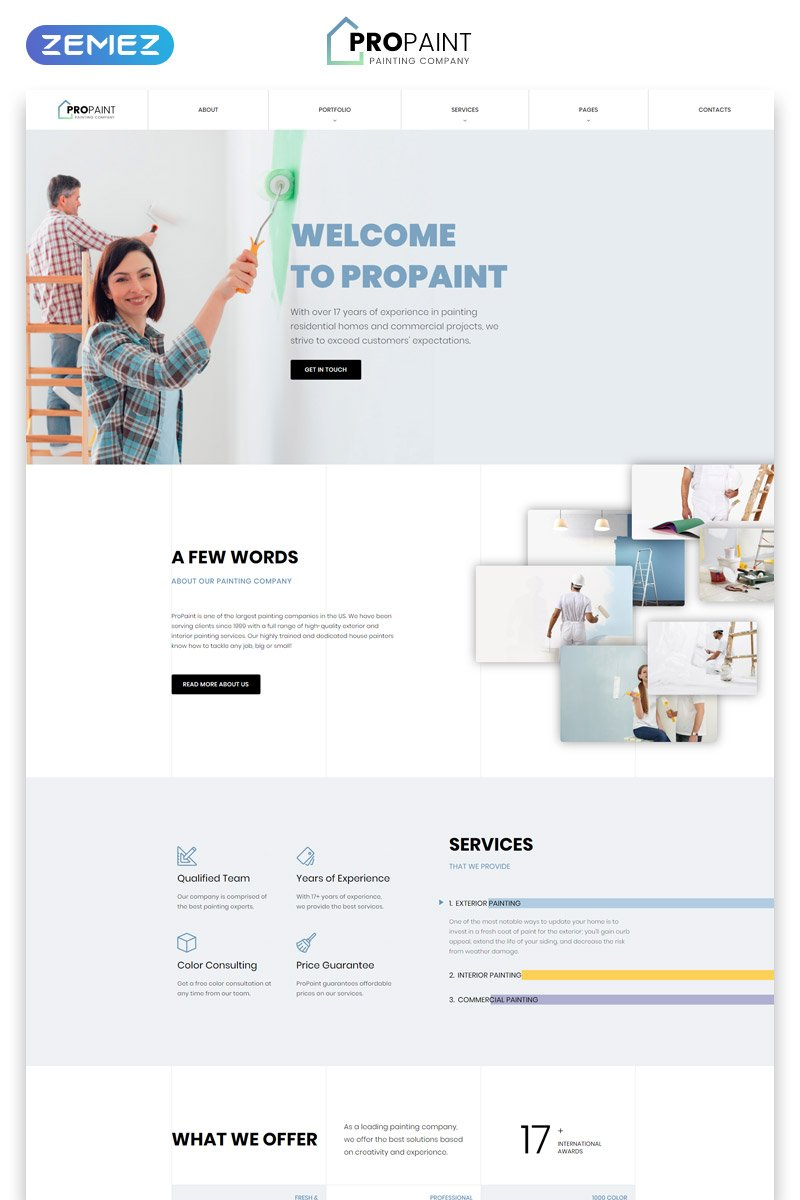 Responsywny szablon strony www PROPAINT - Painting Company Multipage Creative HTML #52119