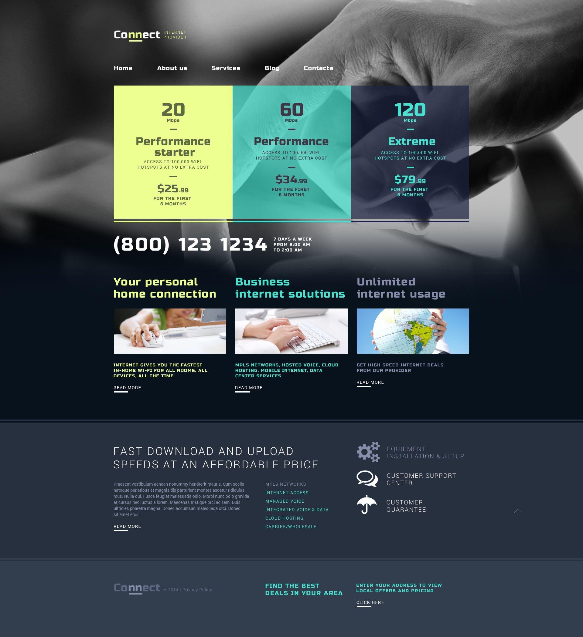 Reszponzív Internet WordPress sablon 52171 - képernyőkép