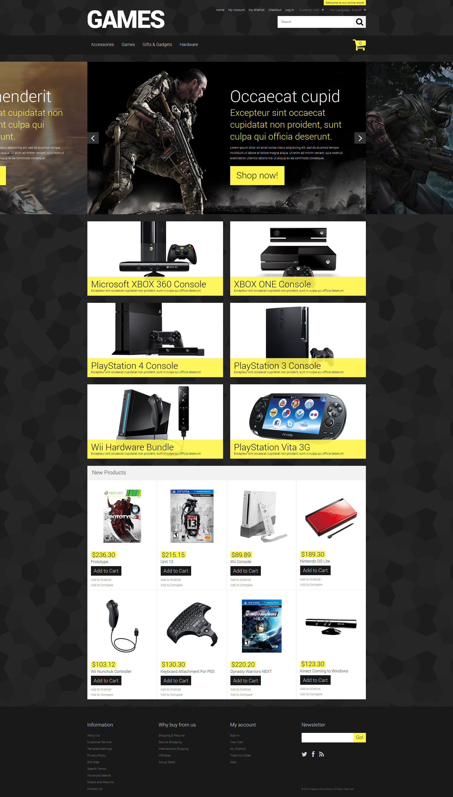 "Tema Magento ""Store for Hardcore Gamers"" #52165"