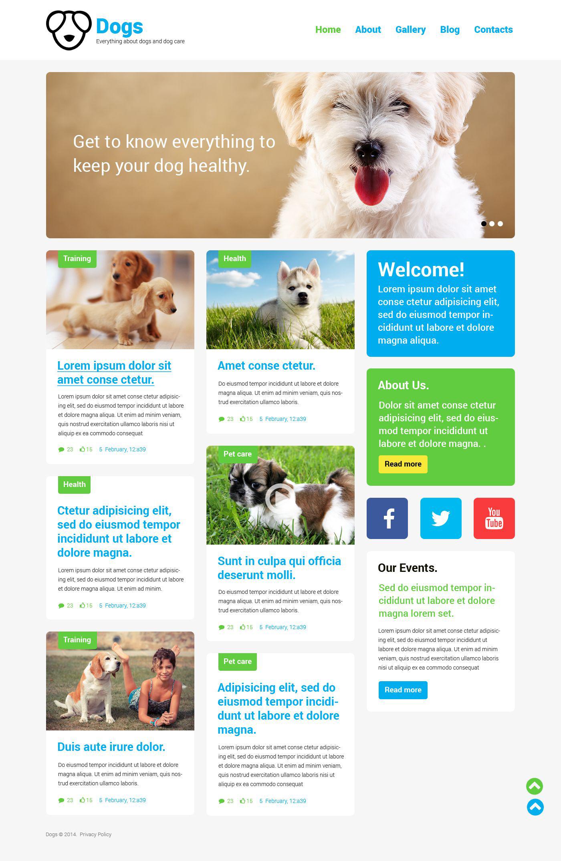 Tema WordPress Responsive #52170 per Un Sito di Cani