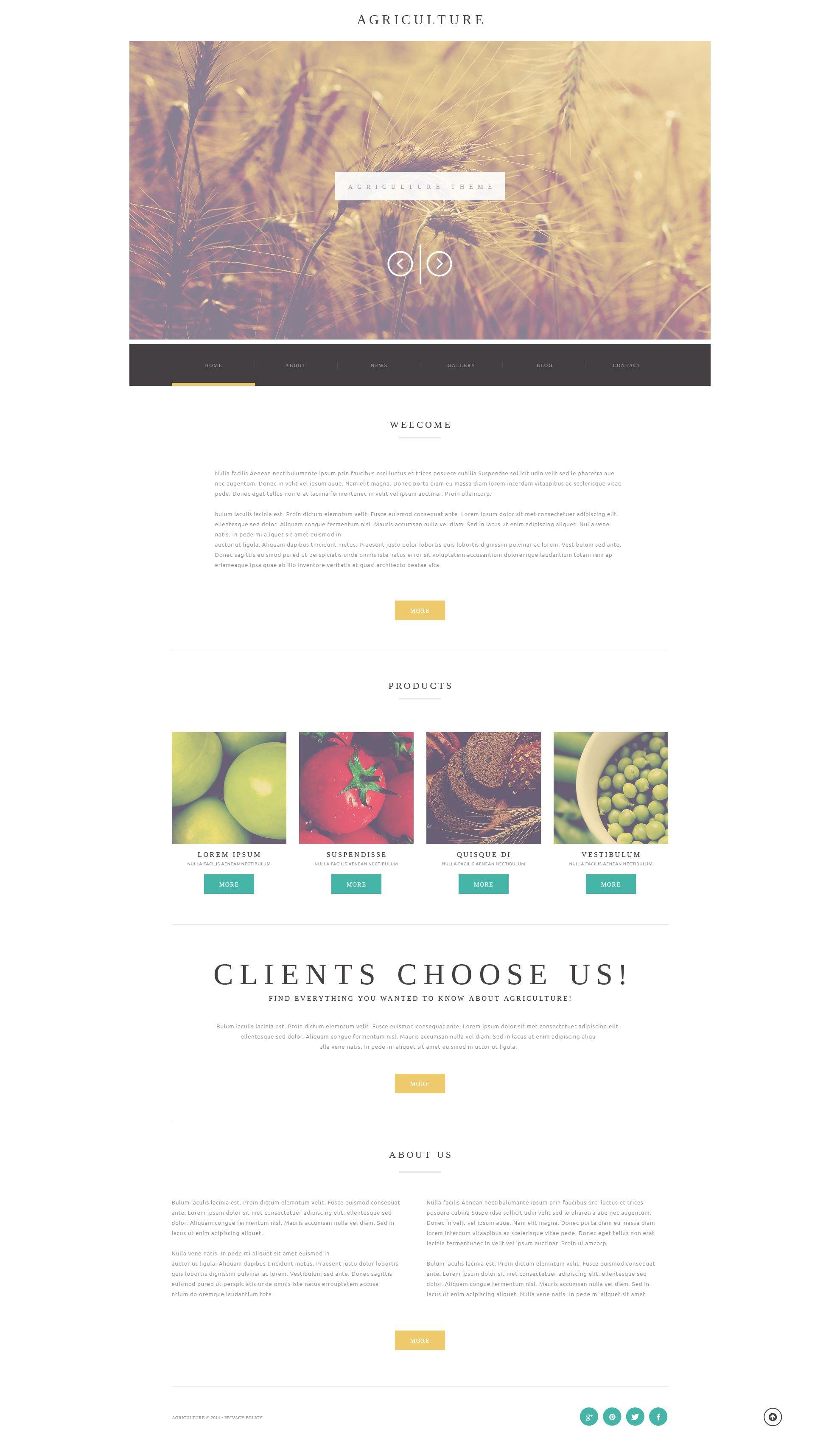 "Tema WordPress Responsive #52173 ""Agriculture Business"" - screenshot"