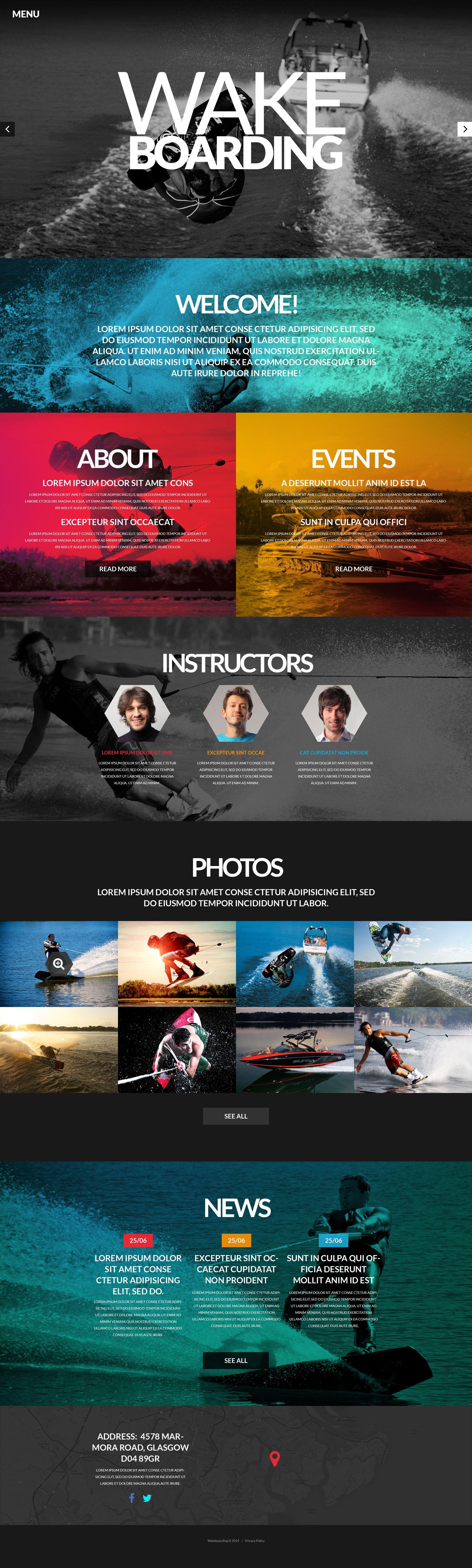 Template Siti Web Responsive #52120 per Un Sito di Wakeboarding