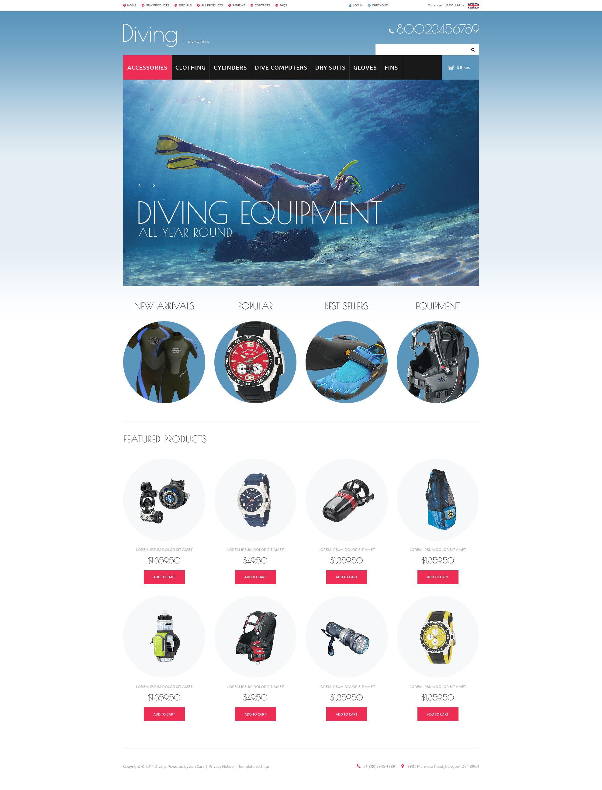 """Template ZenCart #52126 """"Diving Gear"""""""