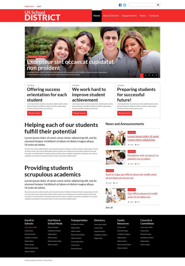 US School District Website Joomla Template New Screenshots BIG