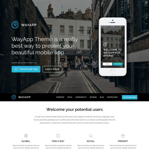 Wayapp - WordPress Template based on Bootstrap