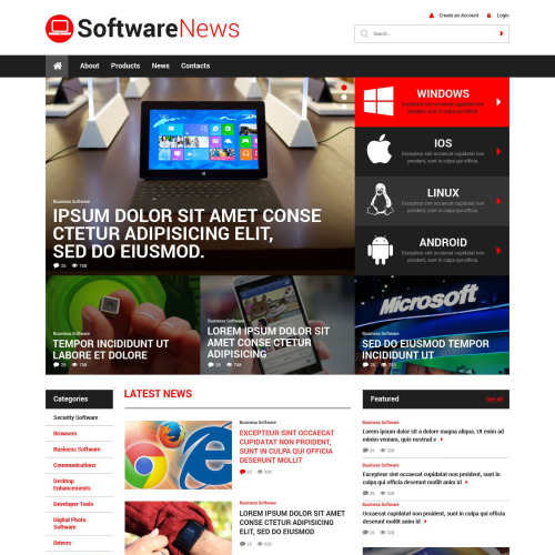 Software News - Web Development WordPress Template based on Bootstrap