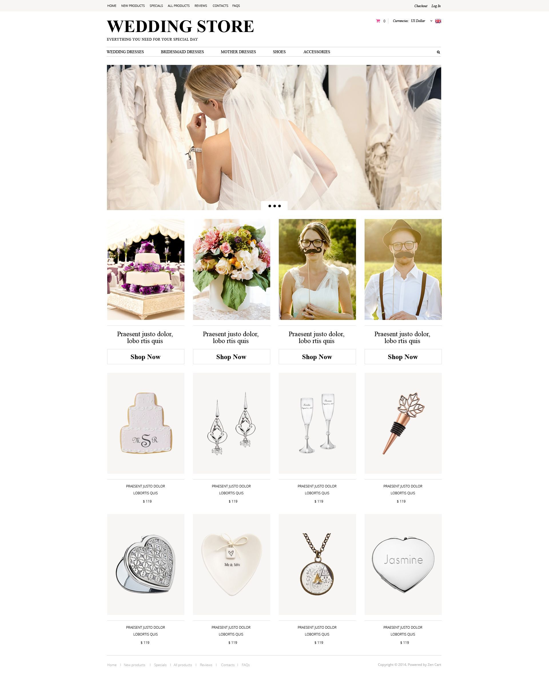 """Wedding Planning"" ZenCart template №52125"
