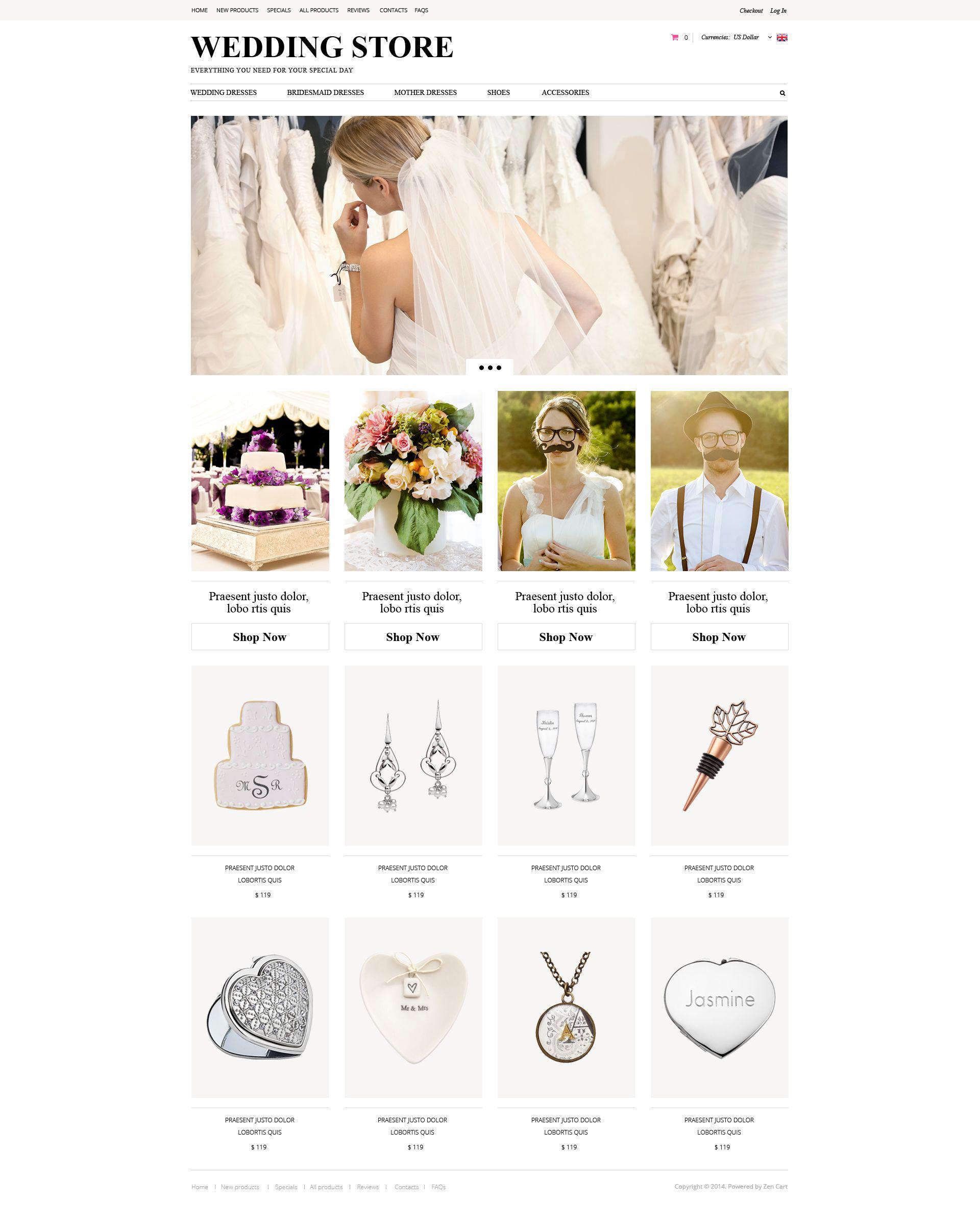 """ZenCart Vorlage namens """"Wedding Planning"""" #52125"""