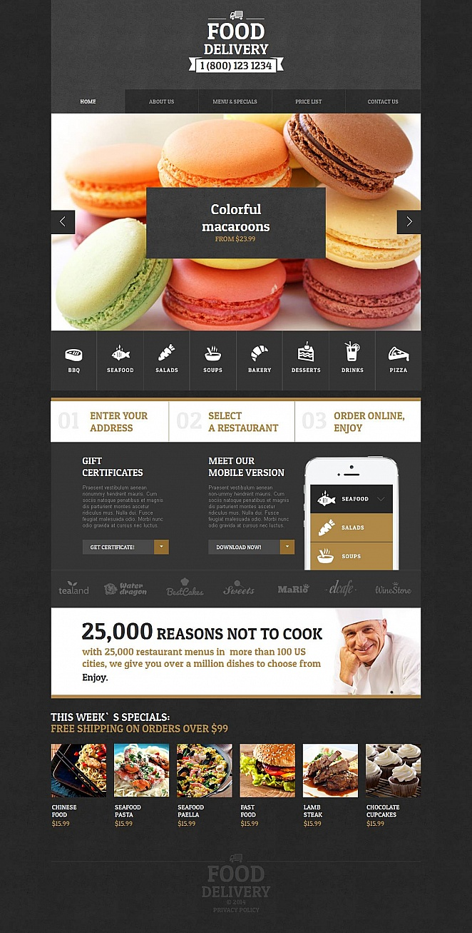 Creative Food Delivery Website Design in Black - image