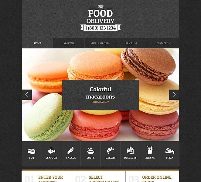 Moto CMS HTML Vorlage für Lieferservice  New Screenshots BIG
