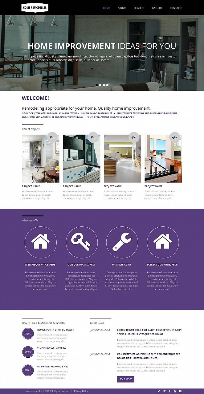 Home Remodeling Web Template with Purple Accents in Design - image